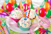 Birthday cupcakes with three candles — Stock Photo