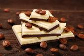 Black and white coffee chocolate bar — Stock Photo
