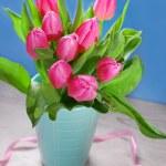 Bunch of fresh pink tulips in vase — Stock Photo #65397565