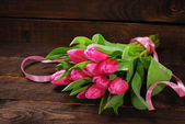 Bunch of fresh pink tulips — Zdjęcie stockowe