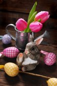 Easter decoration with rabbit — Stock Photo