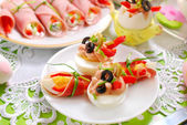 Eggs with tuna spread and olives for easter breakfast  — Stock Photo