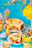 Cheesecake with raisins on easter table — Stock Photo