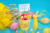 Easter greeting card on blue background — Stock Photo