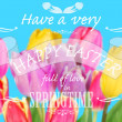 Easter card with greeting text on colorful tulips background — Stockfoto #67004725