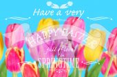 Easter card with greeting text on colorful tulips background — Stock Photo