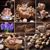 Easter collage with rustic decoration on wooden background — Stock Photo