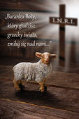 Easter concept with text in polish, lamb and cross symbol — Stock Photo
