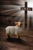 Easter concept with lamb and cross symbol — Stock Photo