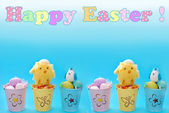 Easter border with eggs in pastel color buckets and greeting tex — Stock Photo