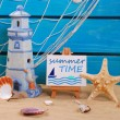 Seaside summer holidays still life with text written on easel — Stock Photo #71418401