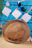 Summer holiday background  on blue wooden planks — Stok fotoğraf