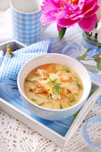 Cauliflower cream soup with chicken and parmesan cheese — Stock Photo