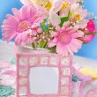 Bunch of beautiful pink flowers and frame for photo or text — Stock Photo #75141405