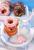 Homemade donuts and milk — Stock Photo
