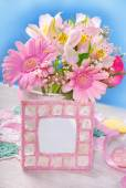Bunch of beautiful pink flowers and frame for photo or text — Stock Photo