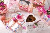 Cup of coffee and old love letters in romantic scenery  — ストック写真