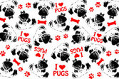 Black,red and white graphic style pug dogs background — Stock Photo