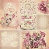 Romantic collage in vintage style — Stock Photo