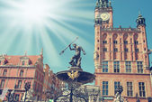 Neptune fountain in Gdansk — Stock Photo