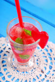 Watermelon drink with mint and ice — Stock Photo