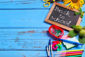 Back to school border with text — Stock Photo