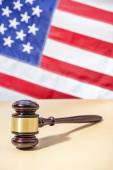 Gavel on a background of the American flag — Stock Photo