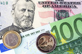 Dollars and Euro banknotes background — Stock Photo