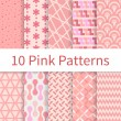 Pink seamless patterns — Stock Vector #53911429