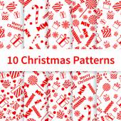 Christmas seamless patterns — Stock Vector