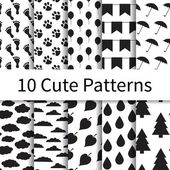 Cute seamless patterns — Stock Vector