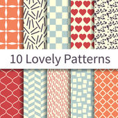 Lovely seamless patterns — Stock Vector