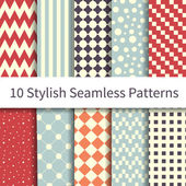 Geometric different seamless patterns — Stock Vector