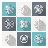 Set of retro flat snowflakes — Vettoriale Stock