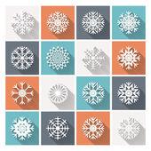 Set van retro platte sneeuwvlokken — Stockvector