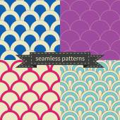 Retro different seamless patterns  — Stock Vector