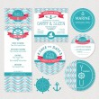 Set of marine wedding cards — Stock Vector #54472655