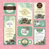 Aantal bloemen bruiloft kaarten — Stockvector