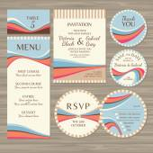 Set of retro wedding cards — Stock Vector