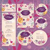 σύνολο καρτών floral γάμου — Διανυσματικό Αρχείο