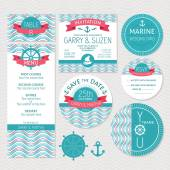 Set of marine wedding cards — Stock Vector