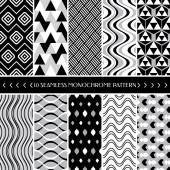 Collection of 10 geometric seamless pattern background — Stock Vector