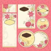 Jeu de cartes de mariage floral — Vecteur