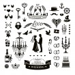 Wedding icons and elements — Stock Vector #63724577