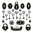 Set of different vintage keys and keyholes and locks — Stock Vector #63724589