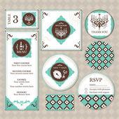 Set of vintage wedding cards — Stock Vector