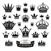 Set of various crowns isolated on white — Stock Vector