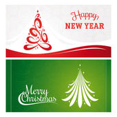 Christmas and New Year greeting cards — Stock Vector