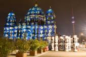 Colorful projections on the Dome of Berlin at the festival of lights. — Stock Photo