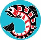 Mythological image Salmon (North American motives) — Stock Vector